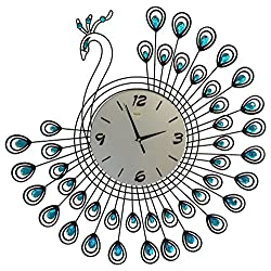Peacock Wall Clock Home Goods Home Decoration Modern Clock(1381-BLUE)