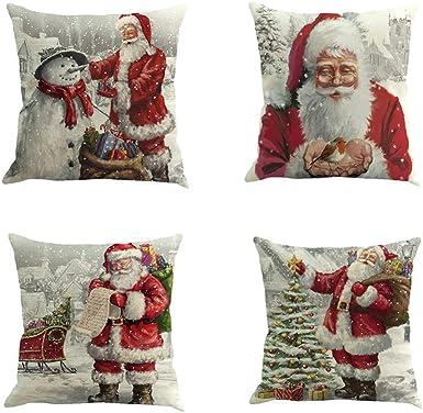 Fossrn 4 Piezas Navidad Fundas Cojines 45x45, Funda de Cojín Decoracion para Hogar Casa Sofa Jardin Cama (A): Amazon.es: Ropa y accesorios