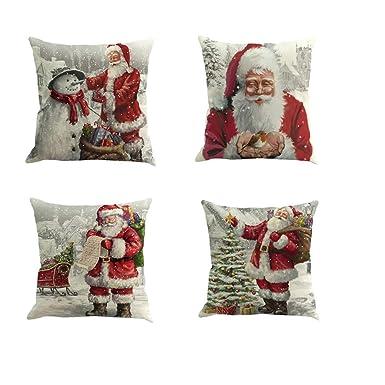 Fossrn 4 Piezas Navidad Fundas Cojines 45x45, Funda de Cojín Decoracion para Hogar Casa Sofa Jardin Cama