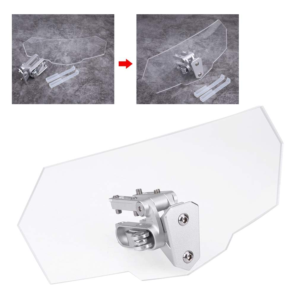 EBTOOLS Motorcycle Universal Windscreen Wind Deflector Windshield Adjustable ABS