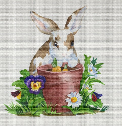 (Art Needlepoint Bunny in the Garden Needlepoint Canvas by Paul Brent)