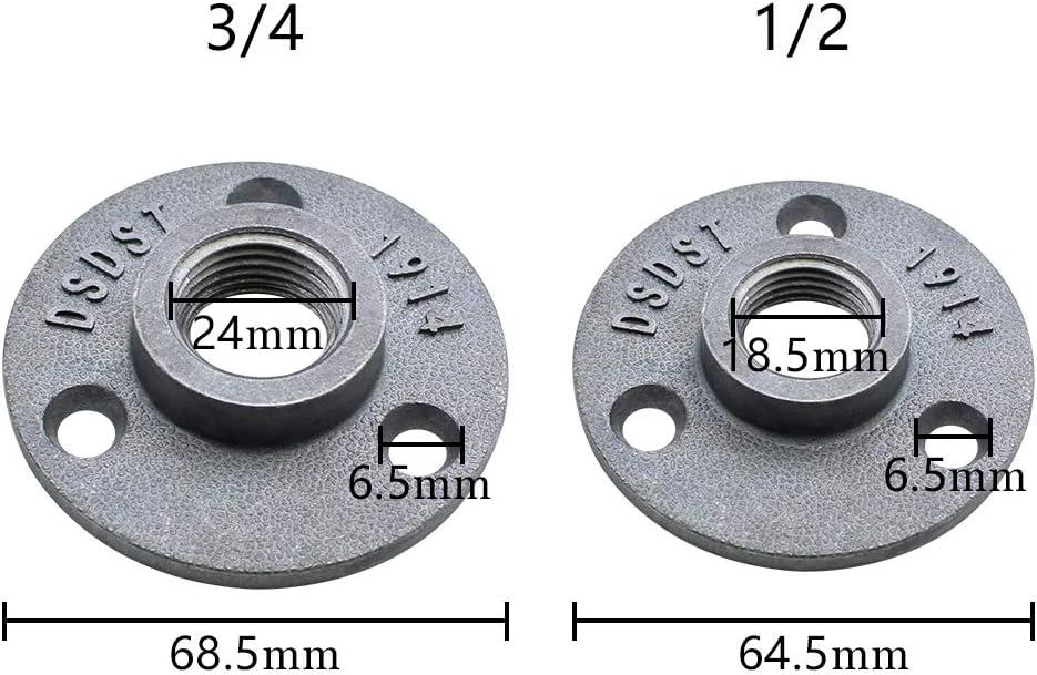 NewZC 1//2 y 3//4 BSP Tubo de brida hierro fundido rosca suelo brida brida tubo base con 3 agujeros para tuber/ía grifo de pared suelo