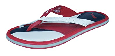 PUMA Porter Womens Leather Flip Flops Sandals-Red-5.5 09aa918657