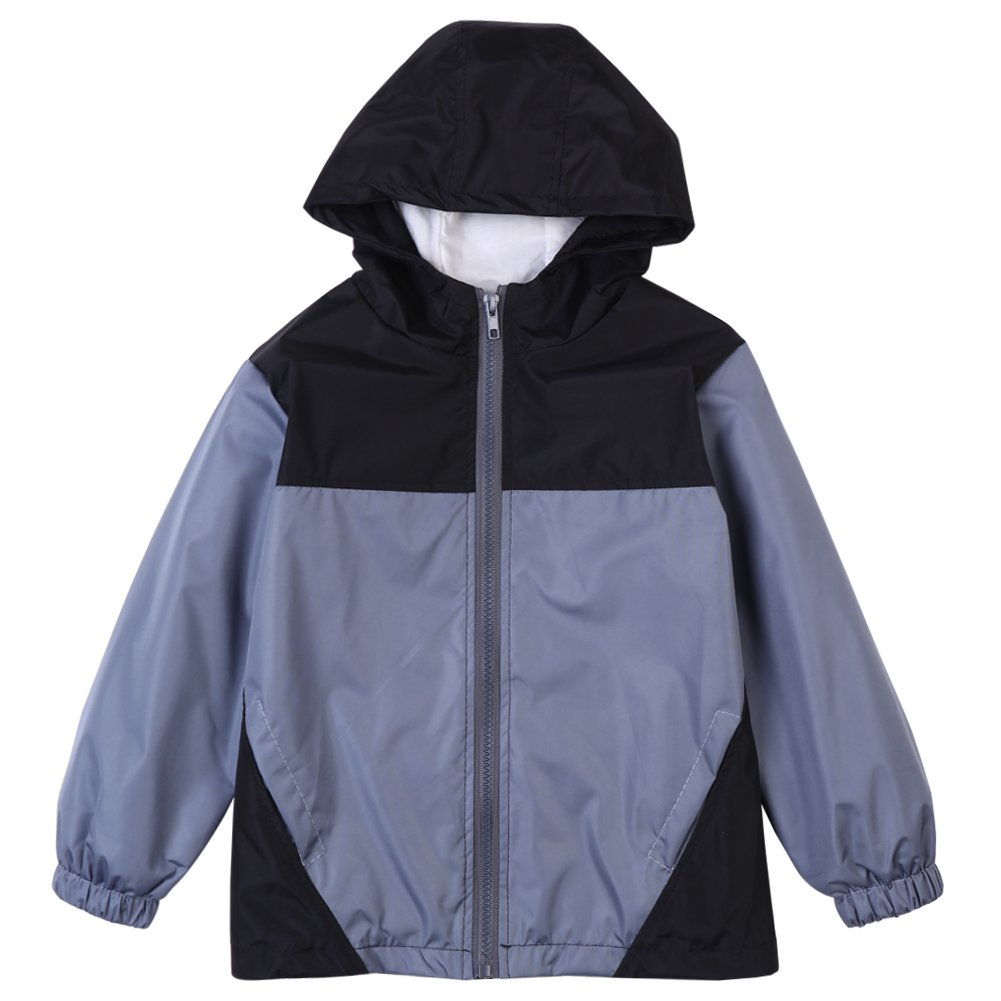 LZH Baby Boys Waterproof Raincoat Jacket Spring Autumn Outerwear Hooded Jacket Coat Gray-261 4T(For Age 3-4Y)