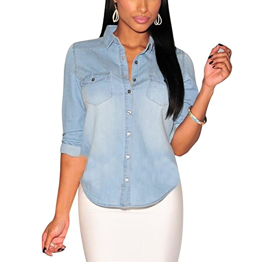 1072004a Image Unavailable. Image not available for. Color: ROPALIA Womens Fitted  Long Sleeve Jean Denim Coat Shirt Blouse Classic Lapel Tops Light Blue XXL