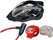 Kit Capacete Ciclista Branco Ciclismo Bike + Cadeado + Farol e Lanterna