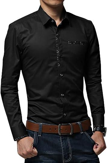 Camisa de Manga Larga para Hombre con Botón Casual Moda - Monocromo - M/L/XL/XXL/3XL Negro: Amazon.es: Deportes y aire libre
