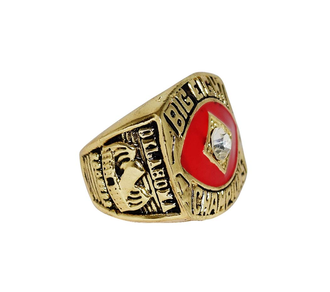 UNIVERSITY OF OKLAHOMA SOONERS (Coach Barry Switzer) 1987 BIG EIGHT CHAMPIONS Vintage Replica Rare Collectible Gold NCAA Football Championship Ring with Cherrywood Display Box