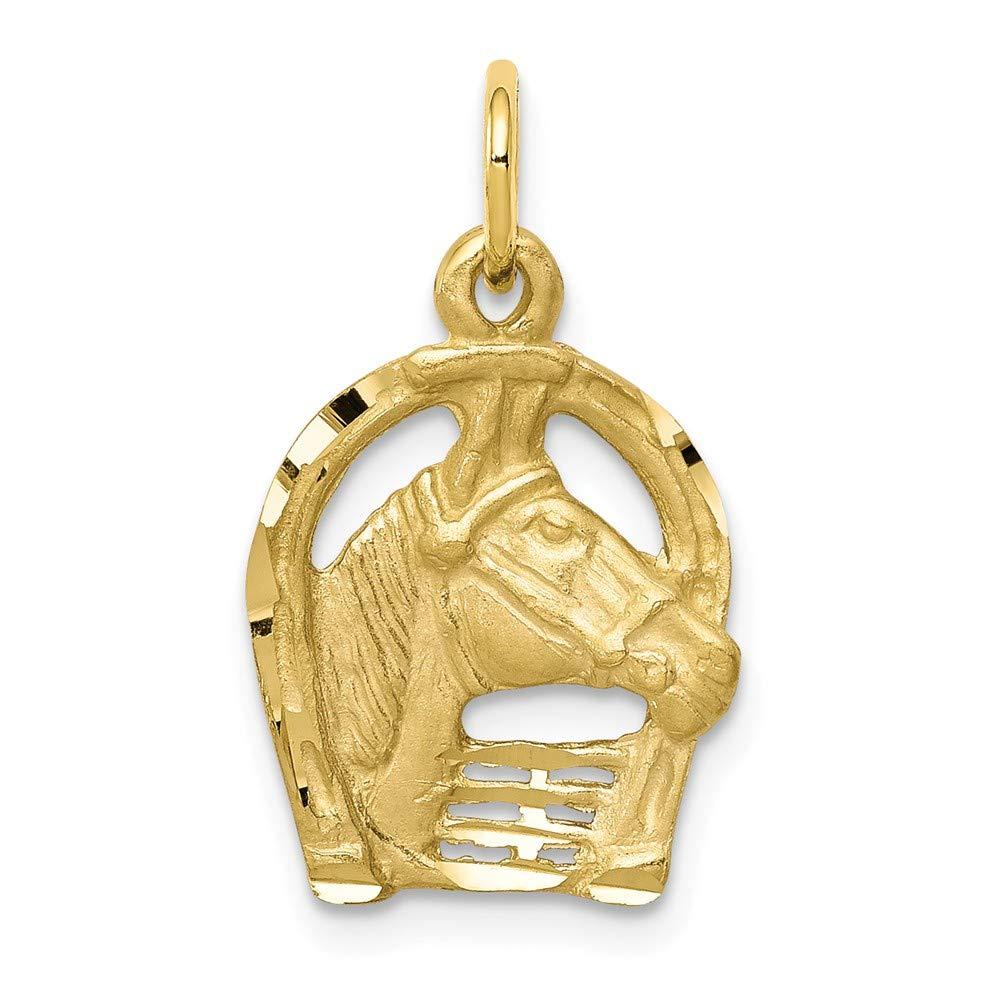 10k Yellow Gold Solid Diamond-cut Horsehead in Horseshoe Charm