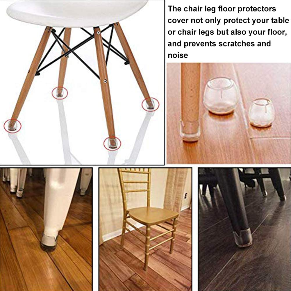 INTVN Chair Leg Floor Protectors 16 Pcs Silicone Furniture Chair Legs Caps Round Floor Protector Anti-Slip Cover Pad Foot Protection Bottom Cover Prevents Scratches and Noise for 25mm-29mm Round Leg