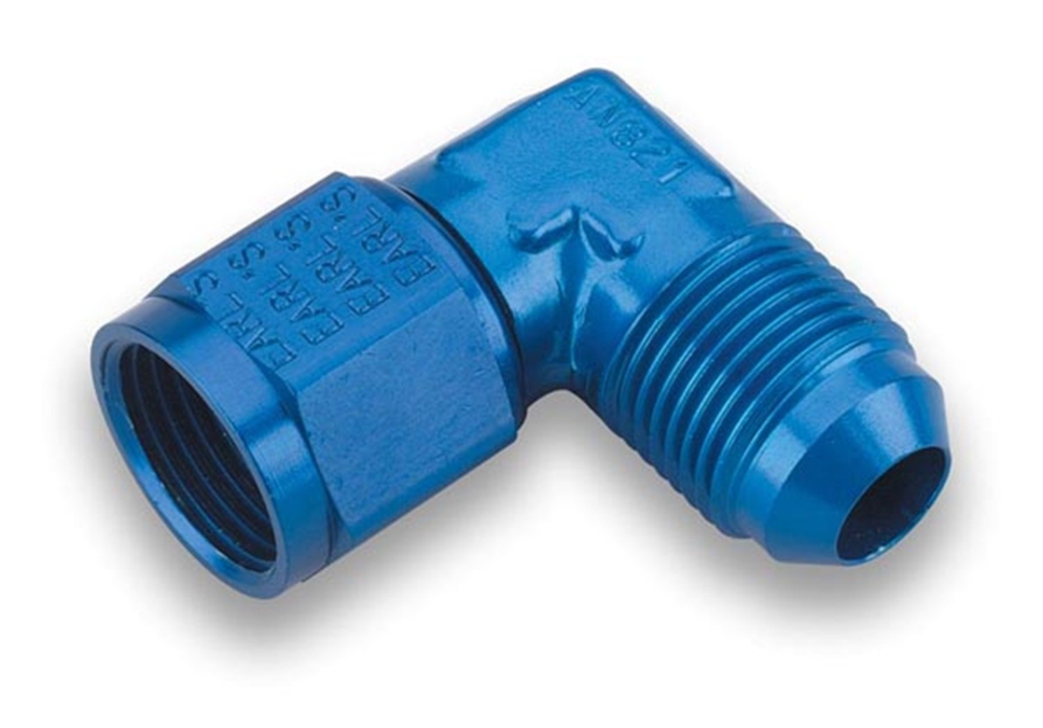 3AN Female Swivel Adapter Earls 921103 Blue Anodized Aluminum 90-degree 3AN Male to