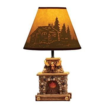Woodland Fireplace Table Lamp, Brown