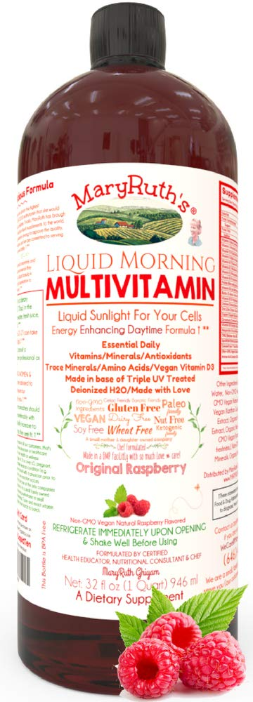 Liquid Morning Vitamins by MaryRuth (Raspberry) Vegan Multivitamin A B C D3 E Minerals & Amino Acids to Provide Energy | Highest Purity Organic Ingredients | Gluten Free | Paleo 0 Sugar 0 Fat 32oz