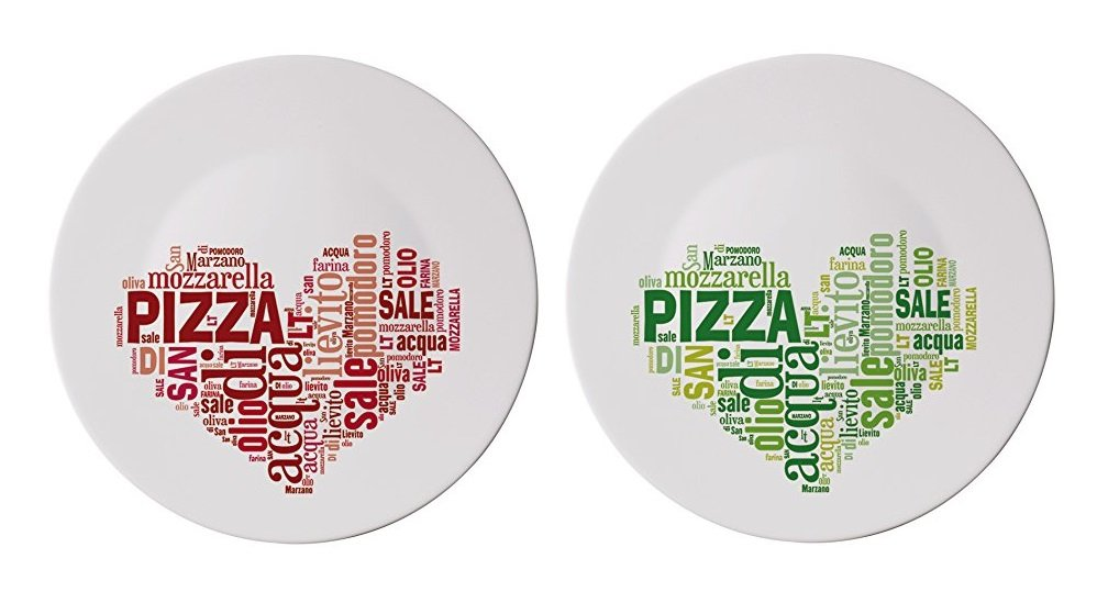 Extra Large Italian Pizza Plates with Red and Green Heart Designs (2 Pieces)