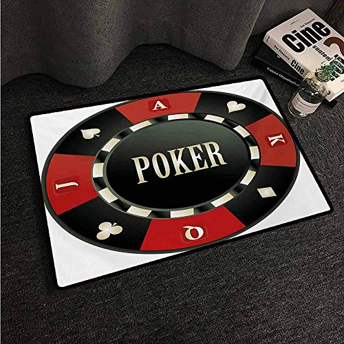 HCCJLCKS Bedroom Doormat Poker Tournament Casino Chip with Poker Word in Center Rich Icon Card Suits Print Suitable for Outdoor and Indoor use W24 xL35 Vermilion Army Green]()