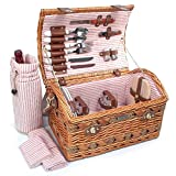 Tan Colored Willow And Seagrass Picnic Basket