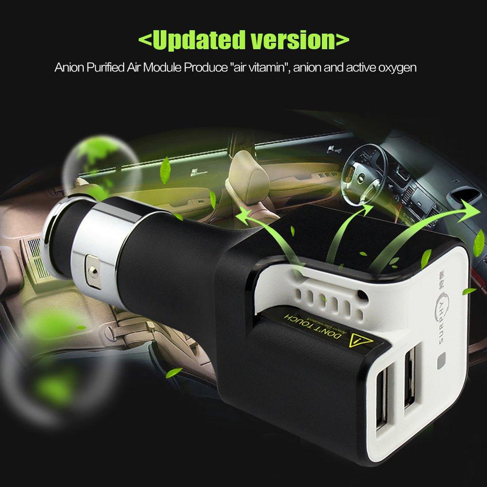 Cargador de coche del anión, cargador del coche de SURPHY + purificador del aire Cargador rápido dual USB del adaptador del divisor del coche de la ...
