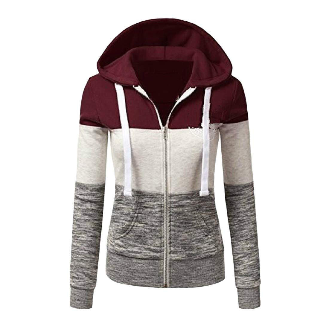 YUNY Women Hood Stylish Baseball Fall Jacket Sweatshirt 1 XS