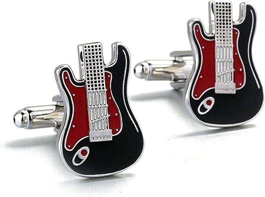 Aienid Gemelos Camisa Hombre Guitarra Plata Negro Rojo Mancuerna ...