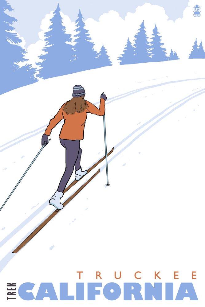 Cross Country Skier - Truckee, California (12x18 Art Print, Wall Decor Travel Poster)