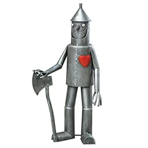 "Bits and Pieces-Steadfast Tin Woodman with a heart Garden Sculpture-Garden Décor Tin Man Yard Art - Garden Statue - Statue Measures 30-1/2"" tall x 14"" wide"