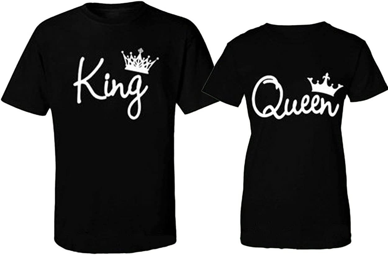 His and Hers matching King and Queen black T-shirts set with gold crowns.