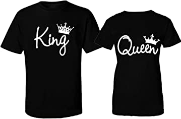 CRAZYDAISYWORLD- Fashion Crowns King and Queen T-Shirts Black