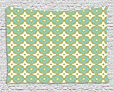 XHFITCLtd Ceramic Tile Decor Tapestry, Floral Shaped Pastel Toned Ceramic Tile Style Ornate Arabian Mosaic Pattern, Wall Hanging for Bedroom Living Room Dorm, 80 W X 60 L Inches, Khaki Turquoise