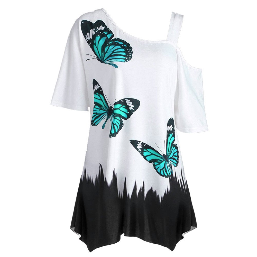 Ghazzi Women Tops, Oversize T-Shirts Summer One Shoulder Butterfly Graphic Blouse Crew Neck Soft Tee Pullover Tops