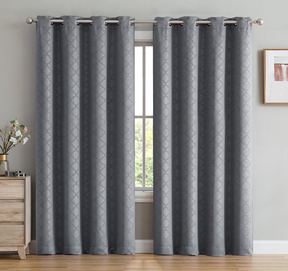 HLC.ME Basketweave Print Blackout Grommet Curtain Panels for Window - 99% Light Blocking - Thermal Insulated Decorative Hanging Pair for Privacy & Room Darkening - Set of 2 (52