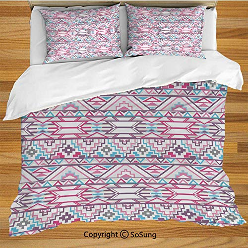SoSung Pastel King Size Bedding Duvet Cover Set,Ikat Style Abstract Geometric Native American Aztec Inspired Artwork Decorative 3 Piece Bedding Set with 2 Pillow Shams,Pink Light Blue Purple ()
