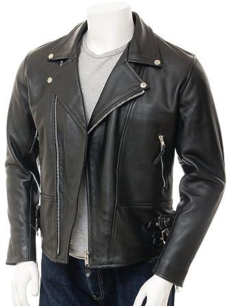 45f0b11c179 crafat Men Leather Jacket Black Slim Fit Biker Motorcycle Lamskin Jacket  (25) (S