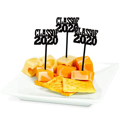 Class of 2020 Plastic Picks (72 Pieces) Cupcake Decorations, Party Supplies, Graduation Decor: Grocery & Gourmet Food