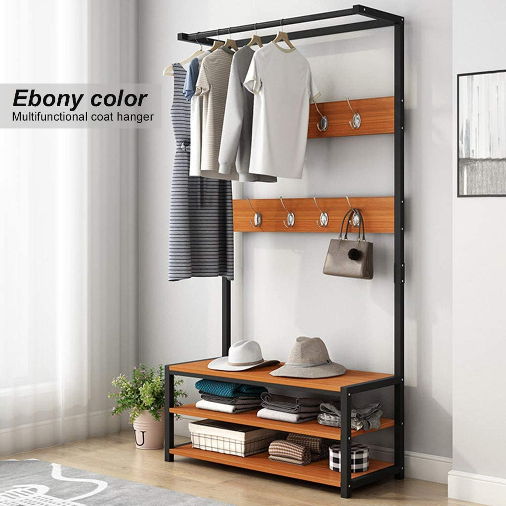 Ship from USA Directly 3 in 1 Design Vibolaa Clothes Rack Coat Stand,Heavy Duty Garment Rack Hall Tree Entryway Storage Shelf,Wood Furniture with Metal Frame Easy Assembly