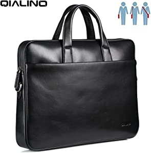 """15-15.6 inch Laptop Bag, QIALINO Real Leather Briefcase Slim Sleeve Case for 15 inch MacBook Pro/ 15.6"""" HP/Acer Predator/ASUS/Lenovo IdeaPad/ThinkPad/Dell Inspiron/LG/Toshiba/Samsung Notebook"""