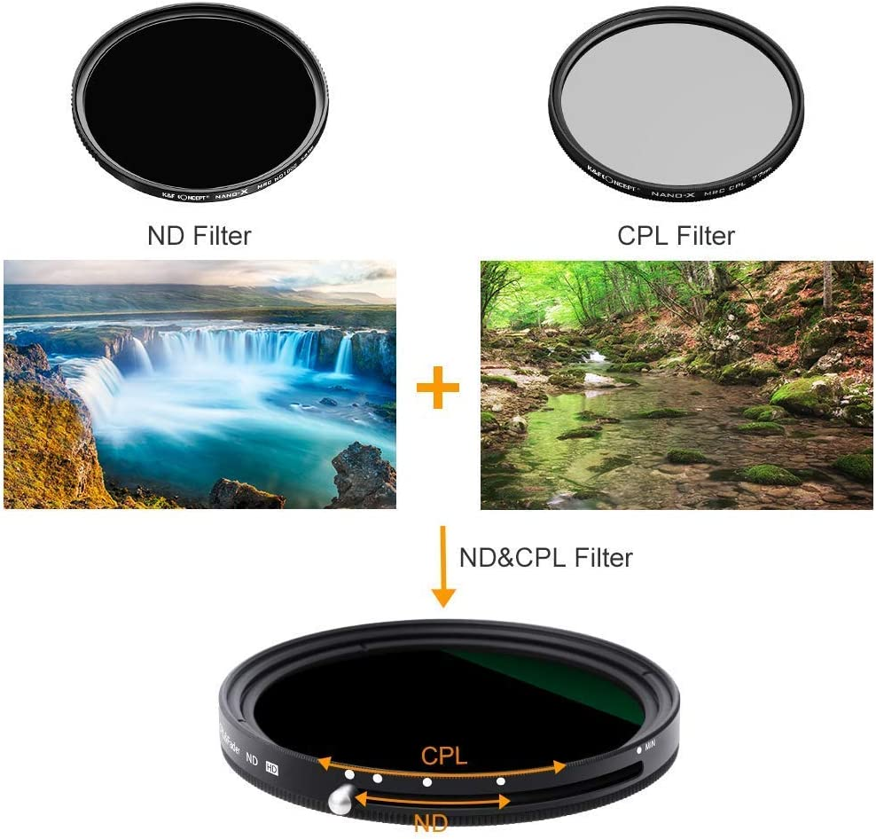 77mm Variable Fader ND2-ND32 ND Filter and CPL Circular Polarizing Filter for Tokina ATX-i 11-16mm f//2.8 CF Lens