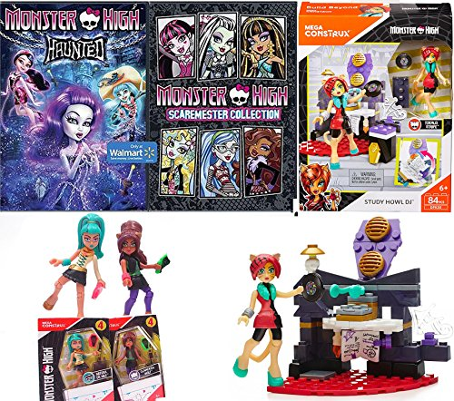Monster High Fun Movie Cartoon Bundle Monster High Study Howl DJ Model set Scaremester High DVD + Mini Figure 2-Pack collection Haunted girls & Cartoons pack