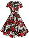 DRESSTELLS Vintage 1950s Solid Color Prom Dresses Short Sleeved Retro Audery Swing Dress Black Skull XL