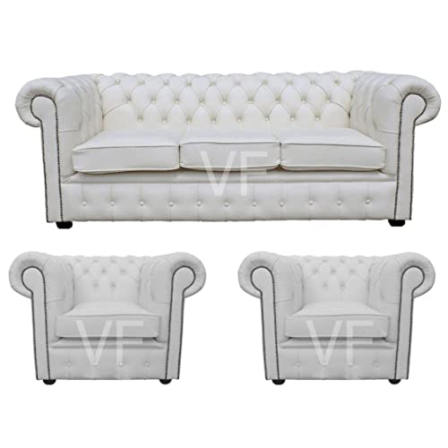 Chesterfield 100% Genuine Leather White 3 Seater Plus 2x Club Chair Room Set