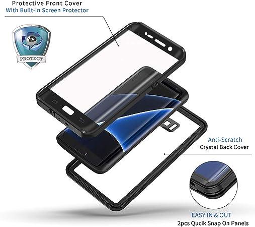 Lanhiem Coque pour Galaxy S7 Edge, étanche à l'eau, à la poussière, aux chocs, coque de protection intégrale étanche avec protection d'écran intégrée ...
