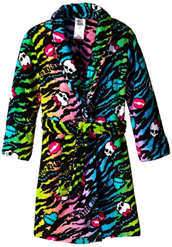 Monster High Big Girls' Fleece Robe, Black, Large(10/12) (Girl Monsters)