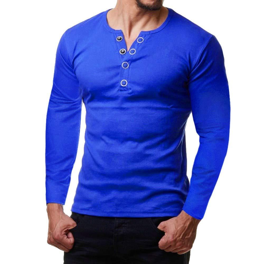 Yazidan Männer Oben V-Ausschnitt Oberteile Taste Bluse Lange Ärmel Abschlag Passen Zur Seite Fahren Hemd Outfits Pure Farbe T-Shirt Beiläufig Mantel Herbst Sweatshirt Regulär Jacke