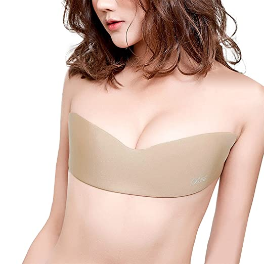5a7b0b01736 Gempack Invisible Strapless Breathable Silicone Bra with Drawstring for  Women … (Free Size