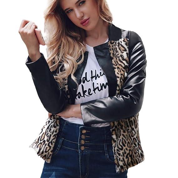 Howley Top Women Warm Leopard Coat Stand Collar Jacket Parka ...