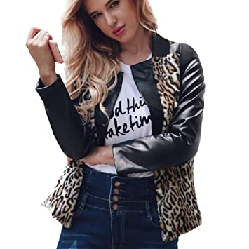 Youngh New Womens Leather Coat Plus Size Leopard Loose Long Sleeves Casual Winter Jacket Outerwear Overcoat