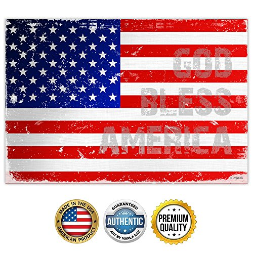 Zendori Art 'God Bless America' US Flag Wall Art - Made in USA (Poster on Canvas Paper, 18 x 12)