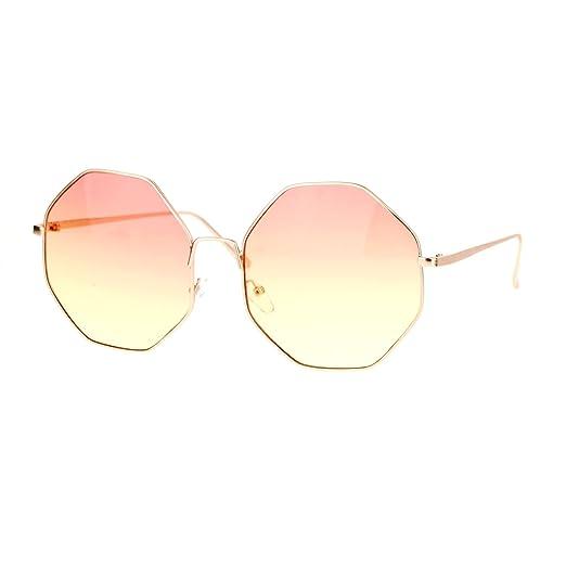 0fb707bf701 Amazon.com: Womens Sunglasses Octagon Shape Metal Frame Gold, Red ...