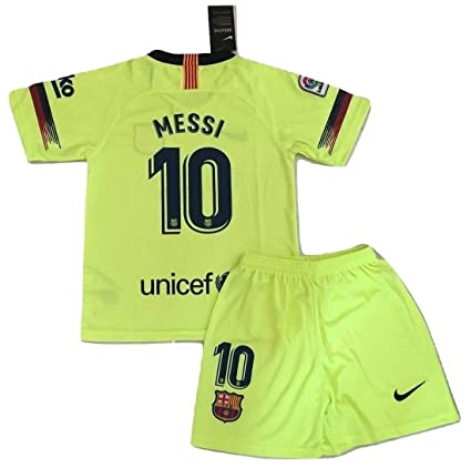 new products 210e2 bfd39 AllStarA 2018-2019 Messi #10 New FC Barcelona Away Jersey and Shorts for  Kids/Youth