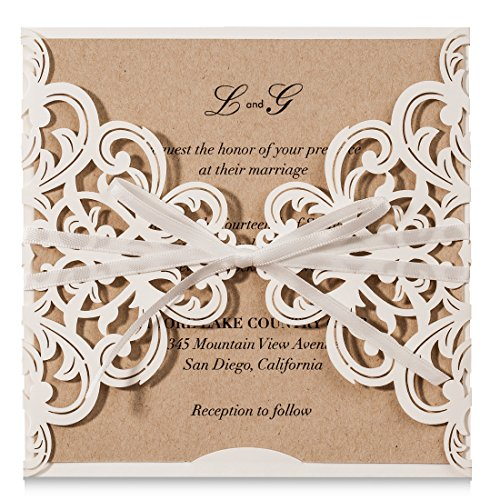 Wishmade White Laser Cut Flora Lace Invitations Cards with Ribbon Bowknot Sleeve Cards for Wedding Bridal Shower Engagement Birthday Baby Shower and Printable Kraft Paper (Pack of 50pcs) (Wedding Invitations Country Style)