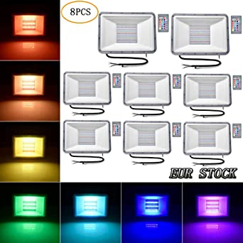 Proyector RGB, reflector LED RGB de 100 W con control remoto ...